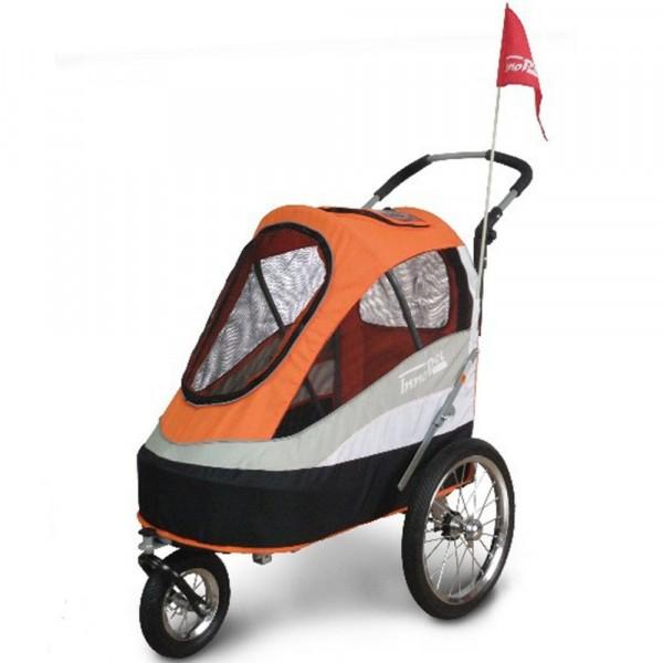 InnoPet® Sporty Trailer Hundebuggy mit Grooming Tisch orange/schwarz